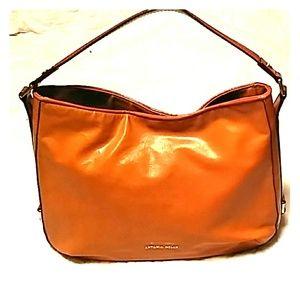 Antonio Melani Orange/Brown Leather Shoulder Bag